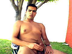 Handsome Latino masturbating outside the house and cum