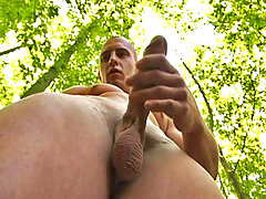 Hot straight stud jerking off his nice cock in the woods