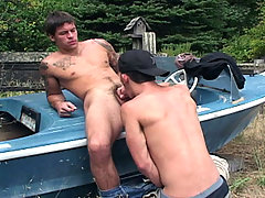 James sucking on Brodie's hard cock. All outside hot actions